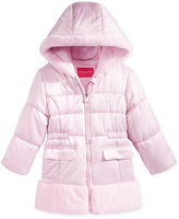 London Fog Satin Puffer with Faux Fur Trim, Toddler Girls (2T-5T)
