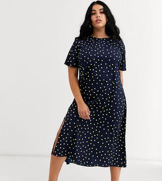 Wednesday's Girl Curve midi shift dress in bright spot-Navy