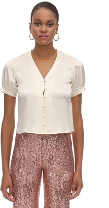 L'Autre Chose Buttoned Silk Satin Top
