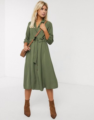 ASOS DESIGN button through midi shirt dress with ruched waist in khaki