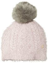 Juicy Couture Black Label Women's Very Soft Slinky Beanie with Oversized Faux Fur Pom Pom