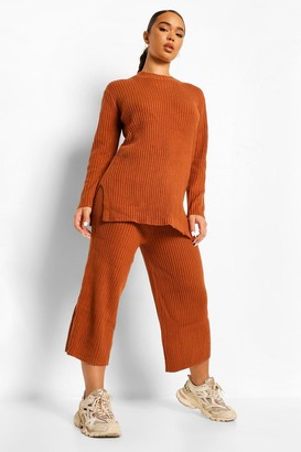 boohoo Premium Knitted Rib roll/polo neck Set