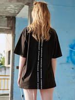 [Unisex] Slogan Taped T Shirts Black