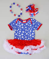 Tutus by Tutu AND Lulu Patriotic Stars Skirted Bodysuit Set - Infant