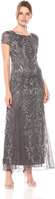 Pisarro Nights Women's Long Dress with Godet Skirt and Beaded Motif