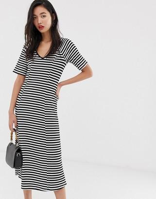 Vero Moda ribbed stripe midi dress-Multi