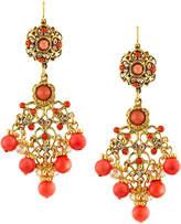 Jose & Maria Barrera Coral-Hued Filigree Chandelier Earrings, Multi