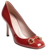 Gucci red patent leather squared toe 'Vernice' pumps
