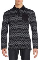 Versace Chevron-Print Polo Shirt