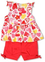 Le Top Love Always Top w/ Tiered Ruffles and Banded Shorts (Infant/Toddler/Little Kids) (White) - Apparel