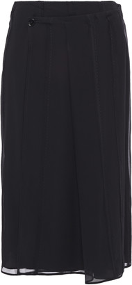 Carven Pleated Silk-chiffon Wrap Skirt