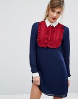 Fashion Union Ruffle Front Contrast Dress With Collar