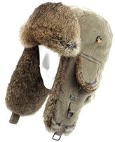 FUR WINTER Cotton Corduroy Rabbit Fur Aviator Bomber Trapper Trooper Pilot Ski Hat DBL M/L