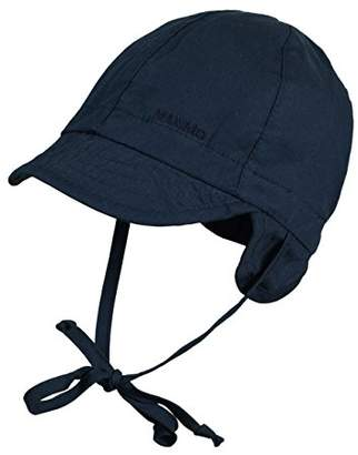 maximo Baby-Boys Baby Hat with Visor and Strings, Navy Plain Hat,6-9 Months (Manufacturer Size:)