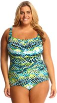 T.H.E. T.H.E Plus Size Mastectomy Emerald Reef Shirred Girl Leg One Piece Swimsuit 8142249