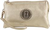 Goldtone Emblem Crossbody Clutch & Wristlet