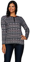 Denim & Co. As Is Printed Waffle Long Sleeve Henley Top