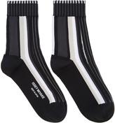 Issey Miyake Black Lined Striped Socks