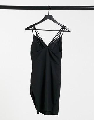 I SAW IT FIRST lace detail mini dress in black
