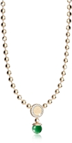 Rebecca Boulevard Stone Yellow Gold Over Bronze Necklace w/Hydrothermal Green Stones