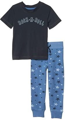 PJ Salvage Kids Rock 'N' Roll PJ Tee Set (Toddler/Little Kids) (Denim) Boy's Pajama Sets