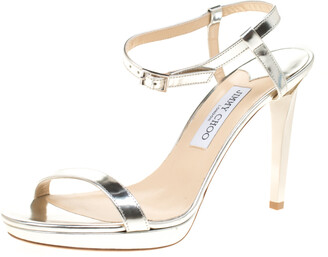 Jimmy Choo Metallic Silver Leather Claudette Ankle Strap Open Toe Sandals Size 41