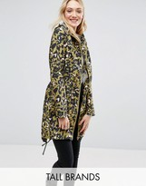 Brave Soul Tall Festival Trench In Leopard Print