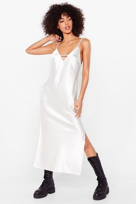 Nasty Gal Womens Rhythm of the Night Satin Midi Dress - White - 6