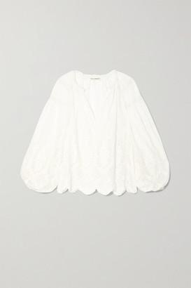 Ulla Johnson Harper Crochet-trimmed Embroidered Cotton-voile Blouse - White