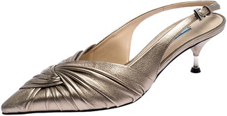 Prada Beige Metallic Pleated Leather Pointed Toe Slingback Sandals Size 39