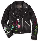 Blank NYC BLANKNYC Girls' Embroidered Moto Jacket - Big Kid