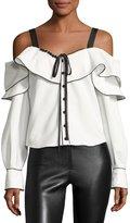 Self-Portrait Off-the-Shoulder Frill Split-Sleeve Cotton Top