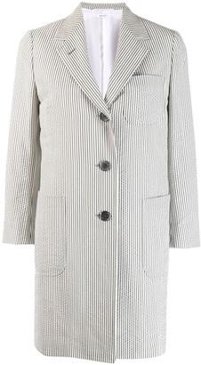 Thom Browne Seersucker Single-Breasted Overcoat