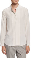 Peserico Long-Sleeve Silk Tuxedo Blouse, Cream