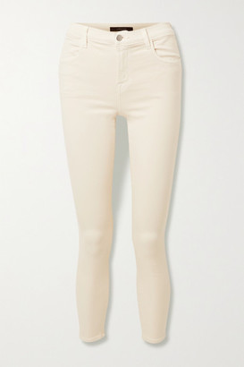 J Brand Alana Cropped High-rise Skinny Jeans - Cream
