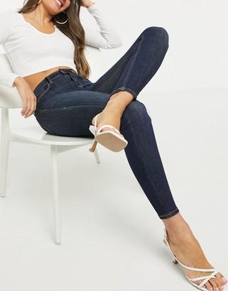 Stradivarius high-waisted skinny jean in indigo blue