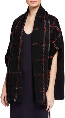 St. John Boucle Cardigan with Leather Binding