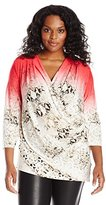 Calvin Klein Women's Plus-Size Print Wrap Top with Ruching