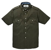 Jacamo Short Sleeve Khaki Military Shirt Extra Long