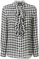 Moschino frilled gingham blouse