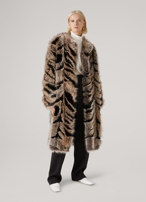 St. John Faux Fox Fur Lined Coat