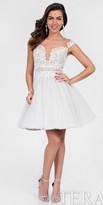 Terani Couture Illusion Lace Applique Gathered Cocktail Dress