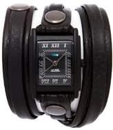 La Mer Stealth Black Dial Leather Strap Wrap-Design Watch