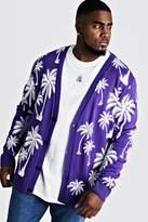BoohoomanBoohooMAN Mens Purple Big & Tall All Over Palm Print Knitted Cardigan, Purple