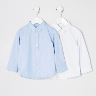 River Island Mini boys white and blue twill shirt 2 pack