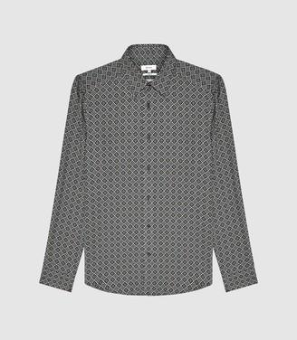 Reiss Tatten - Slim Fit Printed Shirt in Navy