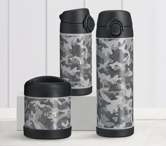 Pottery Barn Kids Mackenzie Black Gray Camo Trim Hot & Cold Container