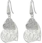 GUESS Double Heart with Logo Drop Earrings (Shiny Silver/Crystal) Earring