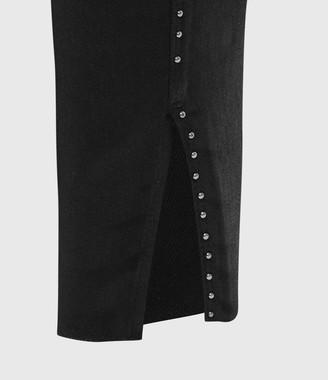 AllSaints Miller Mid-Rise Ministud Superstretch Skinny Jeans, Coated Black