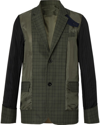 Sacai Slim-Fit Shell-Panelled Prince Of Wales Checked Cotton Jacket